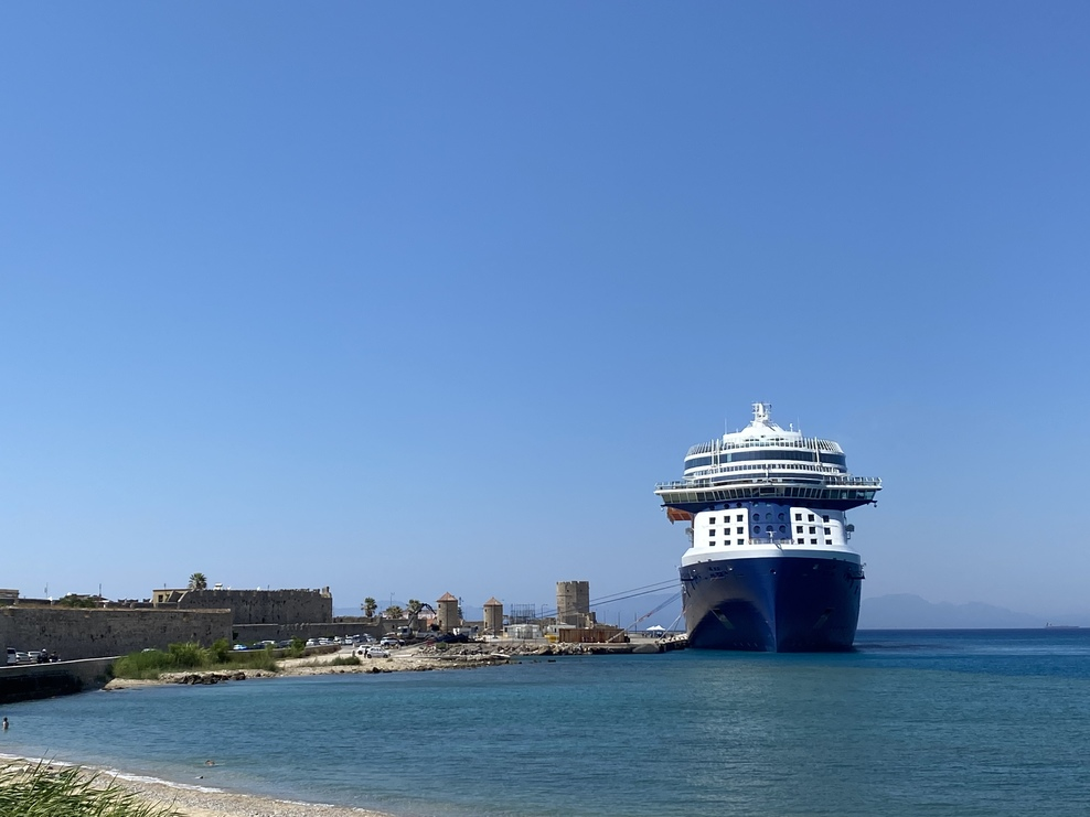 Ship in the port of Rhodes