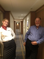 Our very professional and delightful Cabin Steward Bogi & I