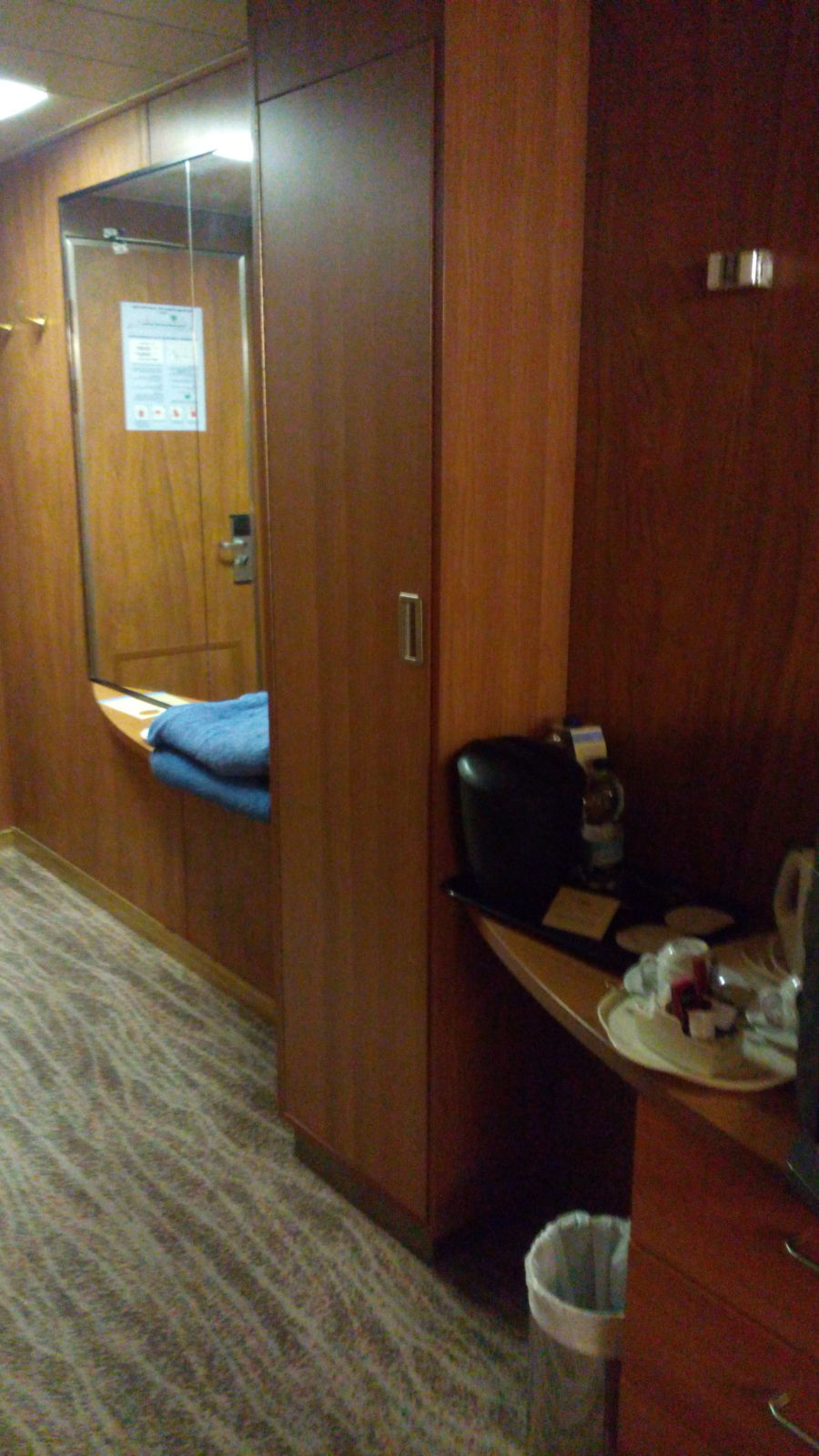 The dark panelling in our cabin.