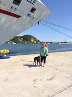 Me and Toby outside the ship in Mazatlan,  He's so cute!
