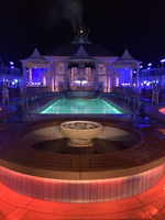 pool deck at night