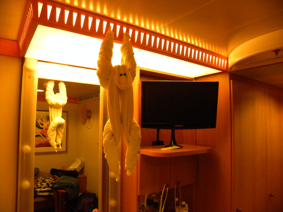 One of the towel animals in the cabin