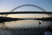 Sunrise behind one of the many bridges on the Columbia River
