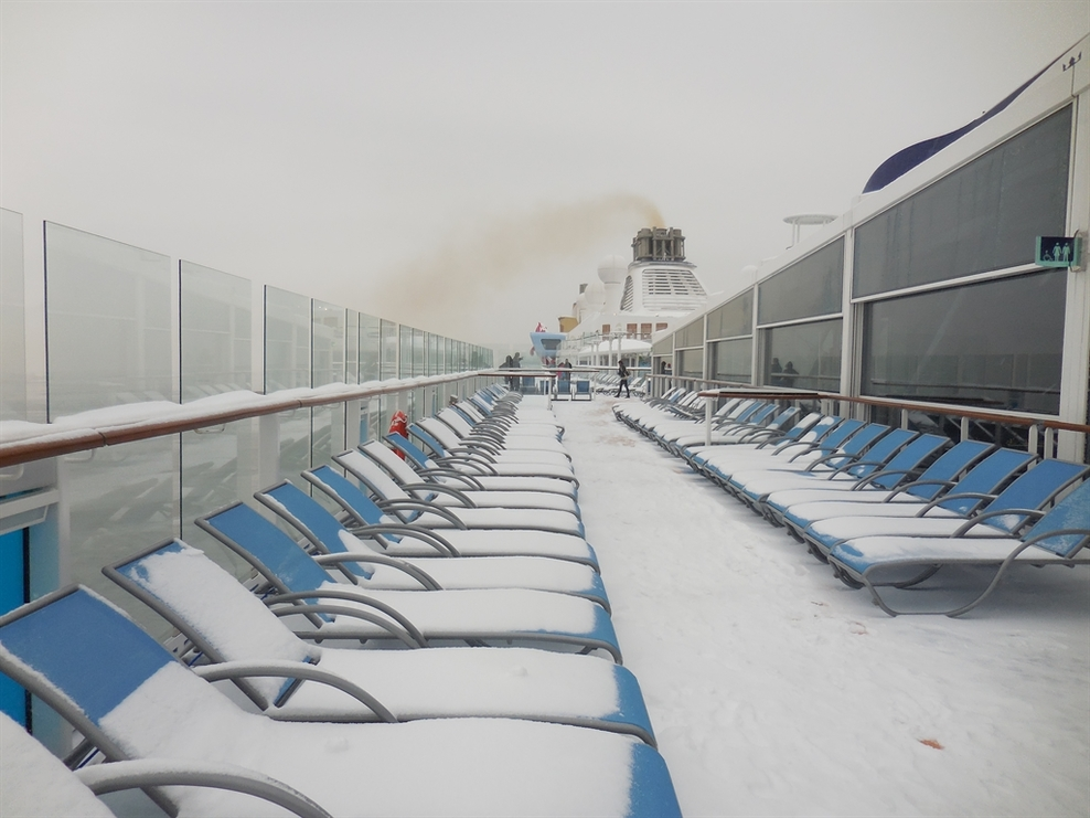 Snow on the cruise ship as we were leaving the port.