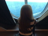 my favorite spot on ship looking out window in the stateroom
