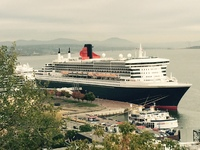 Qm2 docked in Quebec, taken frome the Old City promenade boardwalk