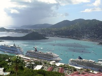 Paradise Point St Thomas - view  cruise lines take the skyride.