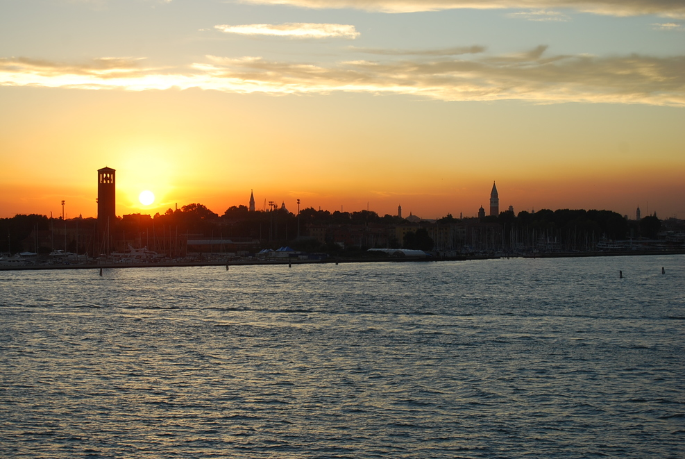 Leaving Venice at Sunset