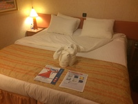 our stateroom with the cute towel animal