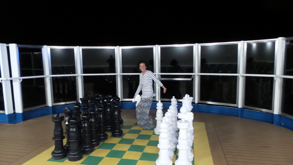 Grand chess pieces. Me riding the horse