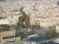 Barcelona aerial view of Las Ramblas