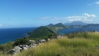 View from St. Kitts where the Carribean Sea & Atlantic Ocean unite