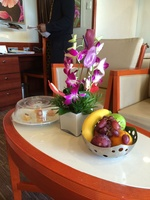 Fresh fruit, flowers and canapes on arrival