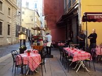 Lyon, lots of lovely outdoor cafes, wonderful food