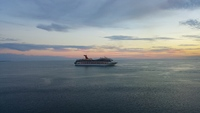 4 ships anchored off belize city.  This one, i think carnival glory, was le
