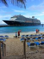 Westerdam from the beach of the Grand Turk cruise center.