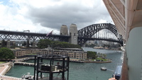 Sydney Harbour Bridge from our balcony on Solstice.