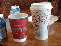 Up charge coffee in a Dixie cup. Unfortunately it was fitting.