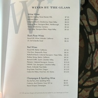 Wine list from bar