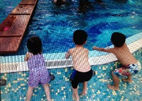 Our grandchildren, poolside fun on the Fantasy
