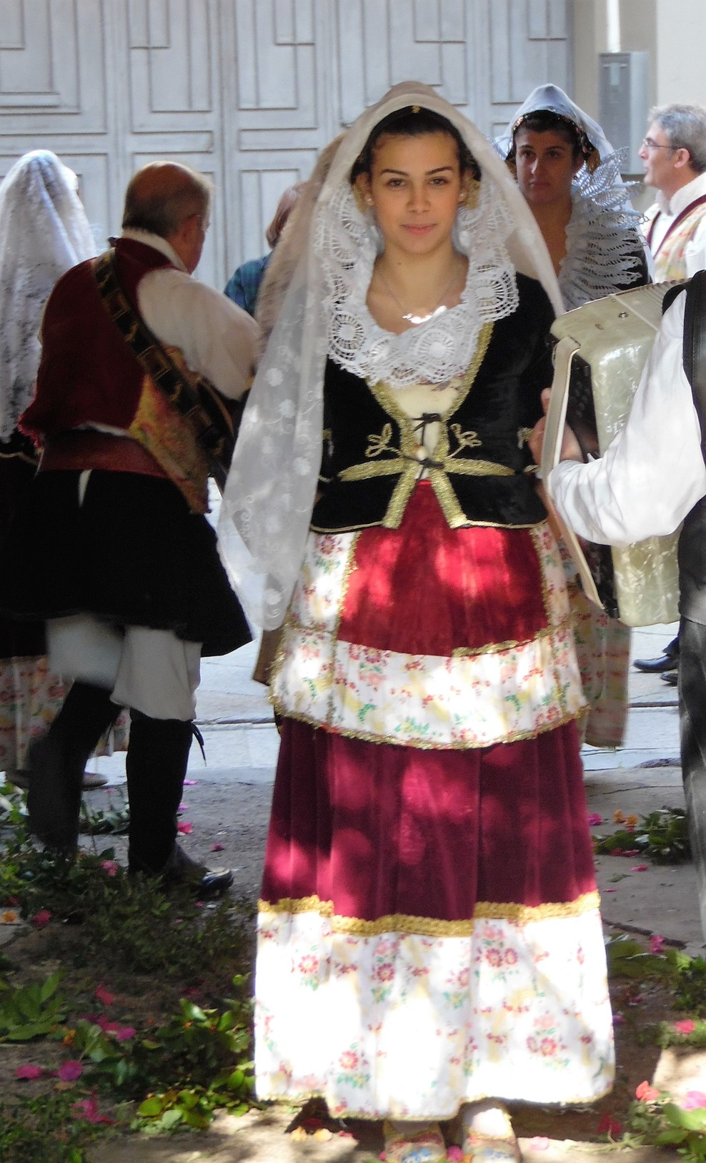 folk dancers and lunch and wine in Sardinia