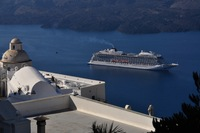 The Viking Star from hilltop in Santorini, Greece