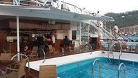 Main deck pool and bar at the back of the ship