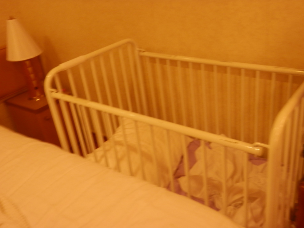 This is the crib that is offered by the cruise. It was snuggled on the side of the bed.