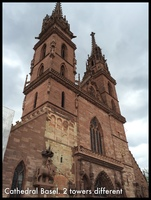 Cathedral in Basel.  The two towers are of different styles
