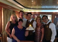 Traditional parading of the Chef & Baked Alaska on the last night, our waitstaff