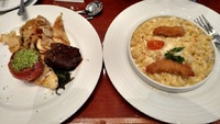 Sea Day Brunch - fillet mignon and mac and cheese with chicken.