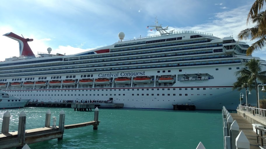 Carnival Conquest in port at Key West, Florida, USA.