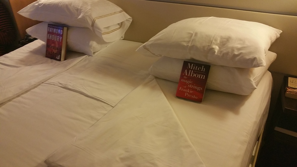 Eclipse nightly turndown included placement of our personal books, ready for nightie reading.