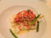Lobster main course in dining room