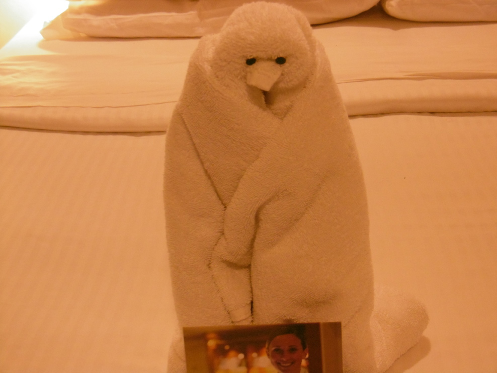 Towel art - I think it is a penguin