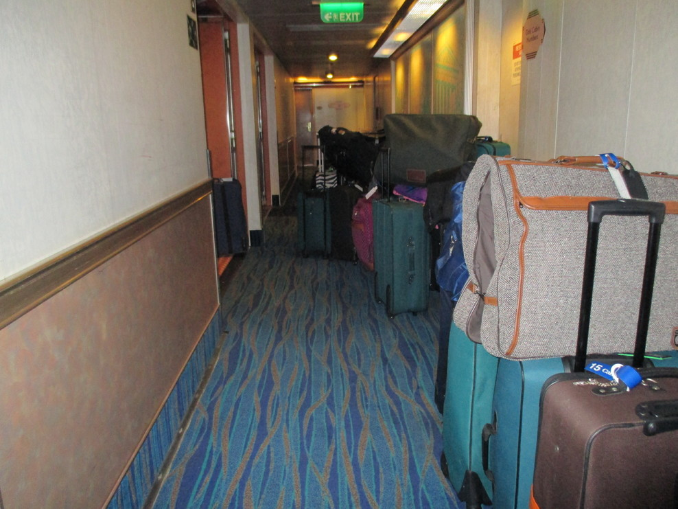 Disembarkation day we had even more luggage in the hallway