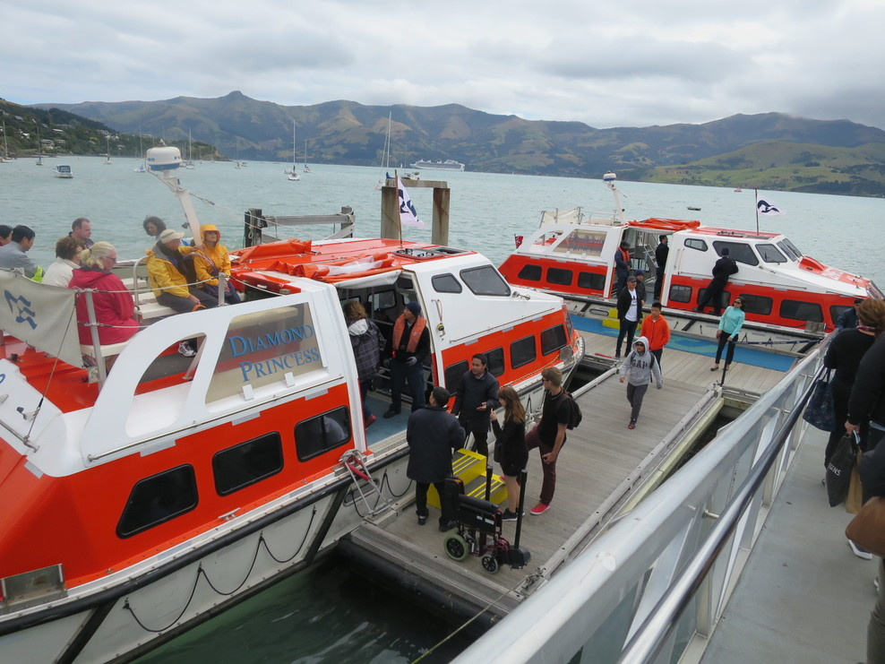 At Akaroa we had to get tenders (lifeboats) to get from ship to shore