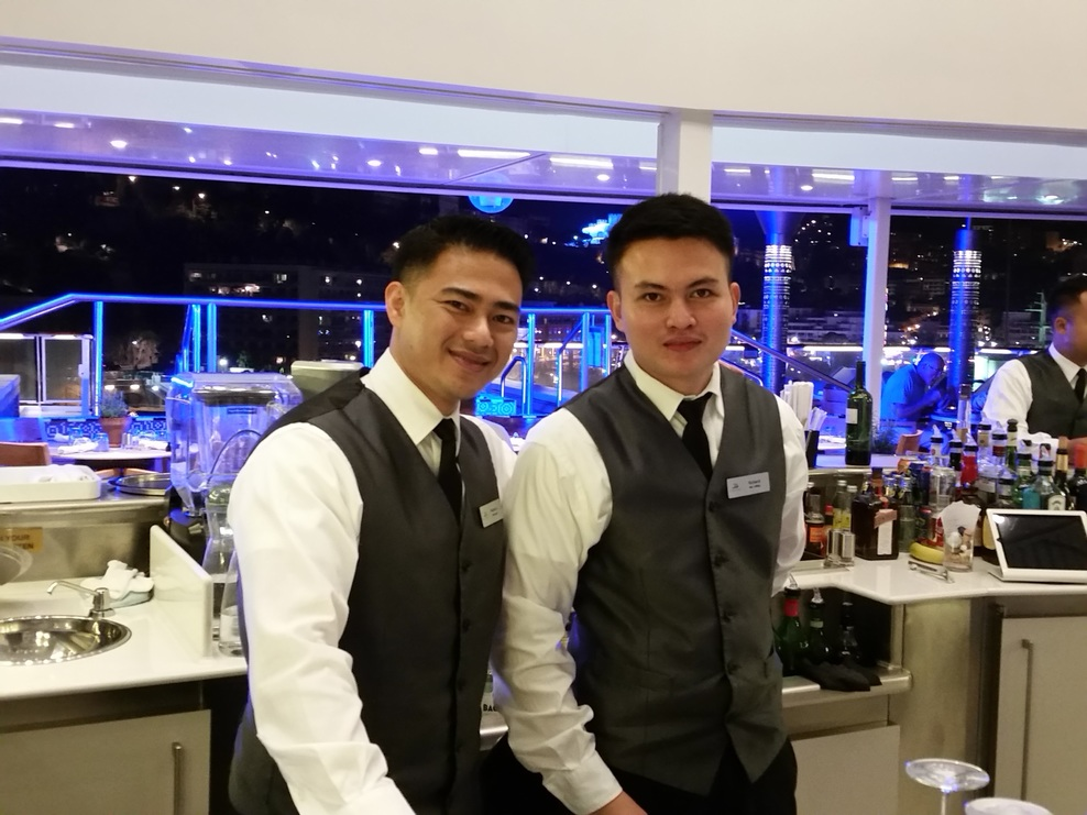 Outstanding crew!  The Aquavite Bar on the fantasy is a wonderful hang out!