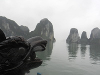 Halong Bay, Vietnam.  Picturesque and erie with the mist.