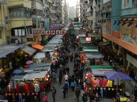 One of the many markets in the Mongkok area.
