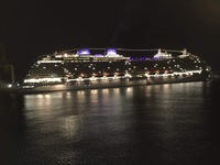 Night shot if Britannia at berth in Barbados, taken from Ventura