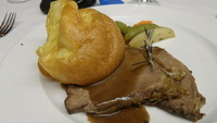1st dinner, roast beef & Yorkshire pudding
