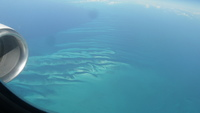 beautiful view from the plane 30,000 feet over the Bahamas