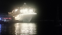 Golden Princess at night in Hobart
