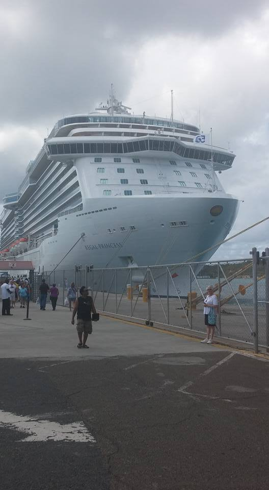 Regal Princess Docked at St. Thomas. My wife is the lady with the blue bag