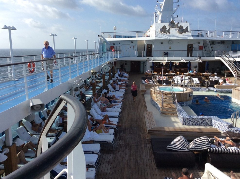 Pool deck and jogging track aboard