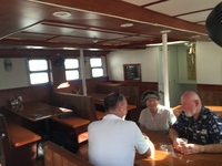 The salon aboard the Vela