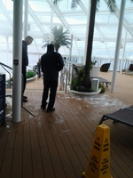 Ice on the deck floor of the solarium due to missing glass in ceiling day 2