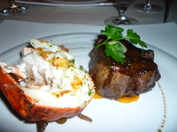 Surf and Turf at steakhouse.  Best lobster ever!