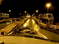 Entering the Panama Canal - what you can see at night (not much - shame on Windstar)